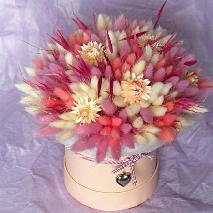 Шляпная коробка из сухоцветов N011