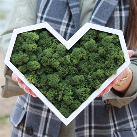 Декоративное сердце из стабилизированного мха H019