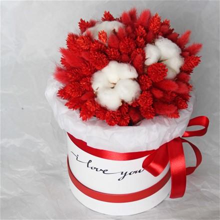 Шляпная коробка из сухоцветов N016