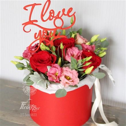 Шляпная коробка с цветами  M123
