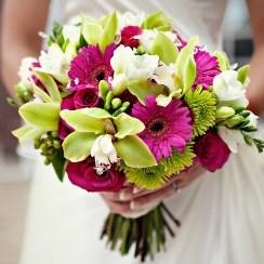 Свадебный букет из гербер и орхидей Е122