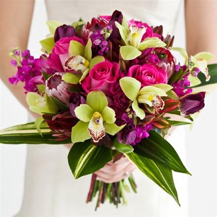 Свадебный букет из роз и орхидей Е123