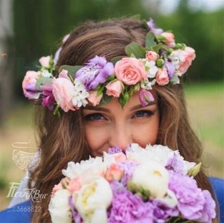 Свадебный венок из цветов на голову F013