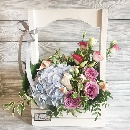 WoodBox & Flowers A058