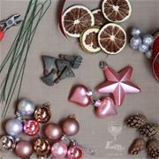 """Подарочный новогодний венок """"Сделай сам"""" пудровый A050"""
