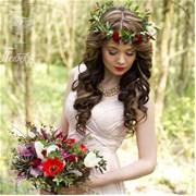 Свадебный венок из живых цветов F008