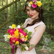 Свадебный букет из пионов и тюльпанов Е044