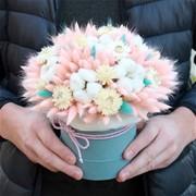 Шляпная коробка из сухоцветов N002