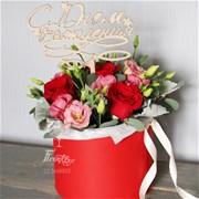 Шляпная коробка с цветами  M124