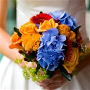 Свадебный букет из гортензии и роз Е126