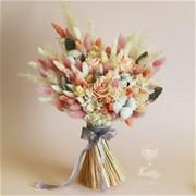 Свадебный букет из стабилизированных цветов и сухоцветов N020