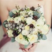 Зимний свадебный букет Е109